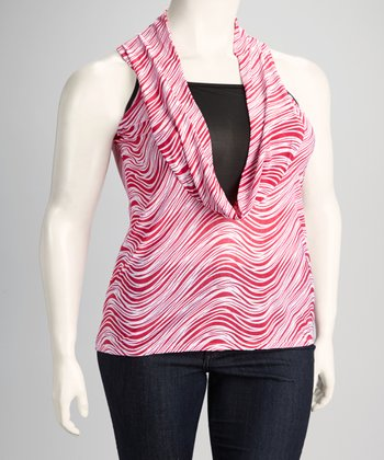 Fuchsia Plus-Size Layered Drape Neck Top