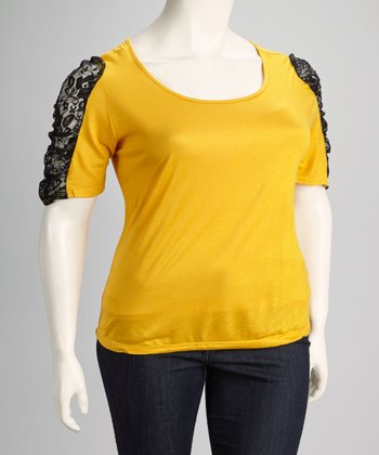 Mustard Lace Plus-Size Half-Sleeve Top