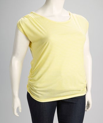 Yellow Stripe Drape Back Plus-Size Short Sleeve Top