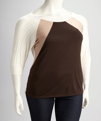 Beige Stripe Plus-Size Three-Quarter Sleeve Top