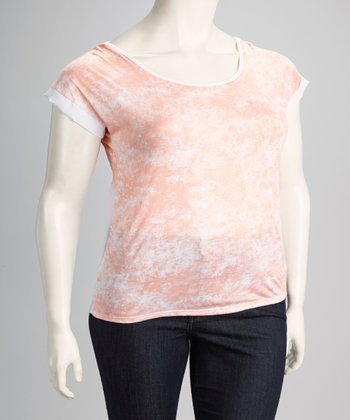Peach Tie-Dye Plus-Size Layered Racerback Top