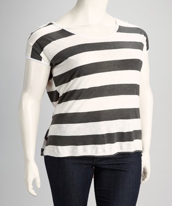 Charcoal Gray Stripe Sheer Panel Plus-Size Top