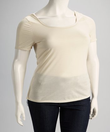 Beige Layered Racerback Top - Plus