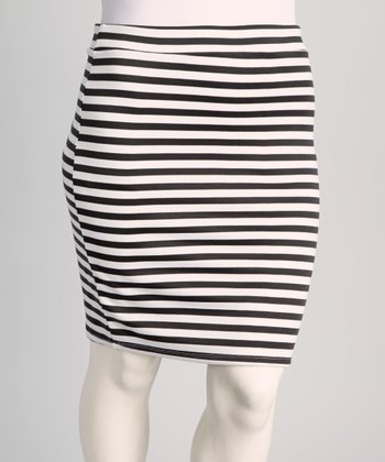 Charcoal Gray Stripe Plus-Size Skirt
