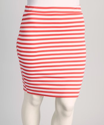 Coral Stripe Skirt - Plus
