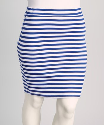 Royal Blue Stripe Skirt - Plus