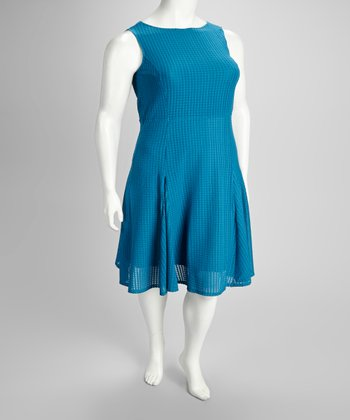 Teal Plus-Size Sleeveless Dress
