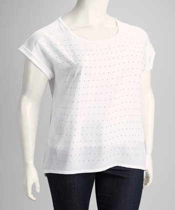 White Studded Plus-Size Short-Sleeve Top