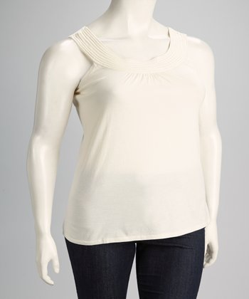 Beige Plus-Size Scoop Neck Sleeveless Top