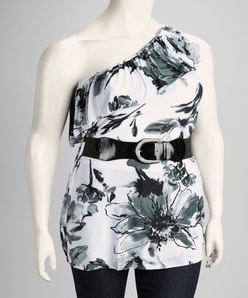Gray Floral Plus-Size Belted Asymmetrical Top