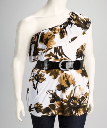 Taupe Floral Plus-Size Belted Asymmetrical Top