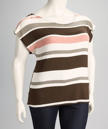 Beige Stripe Plus-Size Short Sleeve Dolman Top