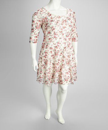 White Floral Plus-Size Three-Quarter Sleeve Dress