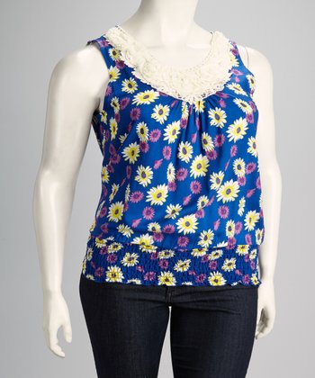 Royal Blue Floral Shirred Plus-Size Sleeveless Top