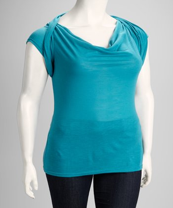 Teal Crocheted Plus-Size Draped Top