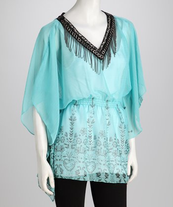 Turquoise Angel-Sleeve Top
