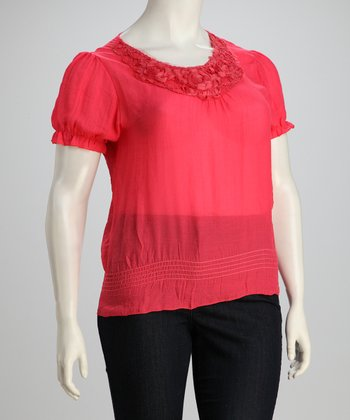 Coral Shirred Plus-Size Top