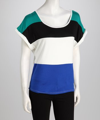 Blue Stripe Dolman Top