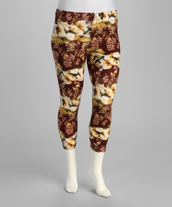 Burgundy Abstract Plus-Size Capri Pants