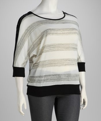 Ivory Stripe Plus-Size Banded Top