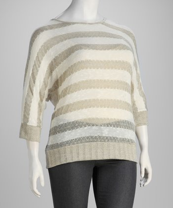 Beige Stripe Plus-Size Banded Top