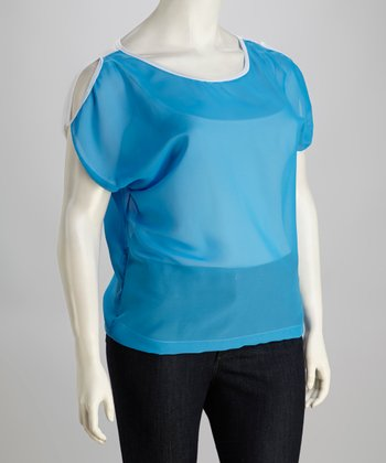 Blue Cutout Plus-Size Top