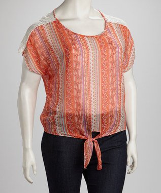 Coral Front-Tie Top - Plus