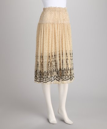 Beige Ornate Skirt