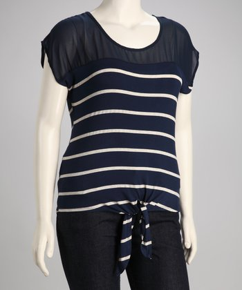 Navy Stripe Tie-Front Plus-Size Top