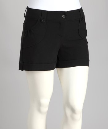 Black Cuff Plus-Size Shorts