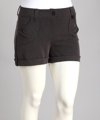 Gray Cuff Plus-Size Shorts