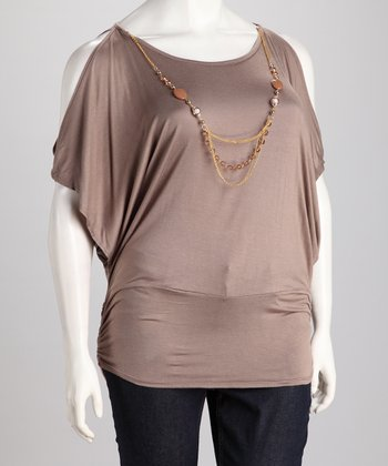 Taupe Necklace Plus-Size Cutout Top