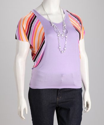 Light Purple Stripe Necklace Plus-Size Top