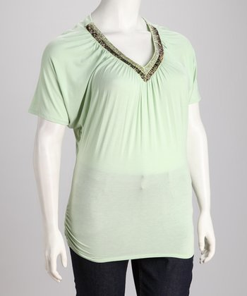 Sage Embellished Plus-Size Top