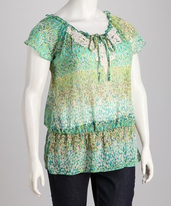 Green Abstract Crochet Collar Plus-Size Top