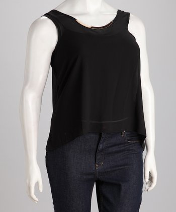 Black Chiffon Plus-Size Hi-Low Tank