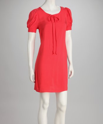 Red Puff-Shoulder Dress