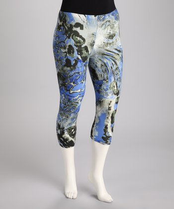 Blue Abstract Plus-Size Capri Pants