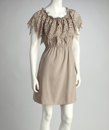 Taupe Eyelet Dress