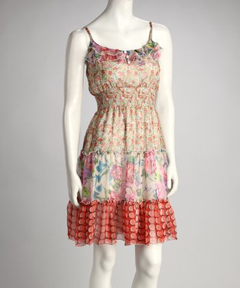 Pink Flower & Dot Dress