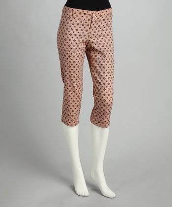Mauve Polka Dot Cropped Pants