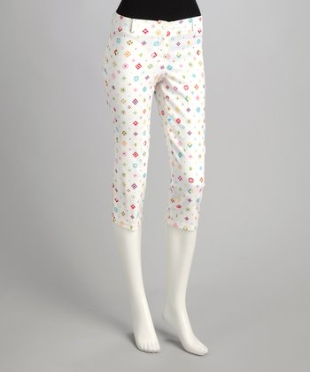 White Polka Dot Cropped Pants