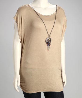 Taupe Ruched Plus-Size Tunic & Necklace