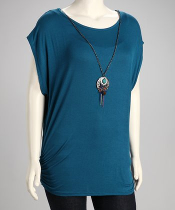Teal Ruched Cutout Back Plus-Size Tunic & Necklace