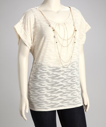 Ivory Plus-Size Burnout Top & Necklace