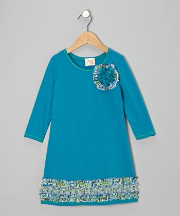 Teal Rosebud Ruffle Dress - Girls