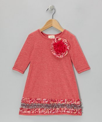 Coral & Heather Gray Rosebud Ruffle Dress - Girls