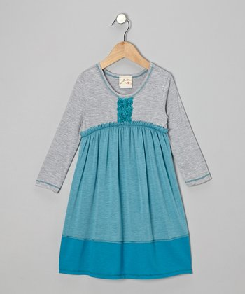 Teal & Heather Gray Rosette Empire-Waist Dress - Toddler & Girls
