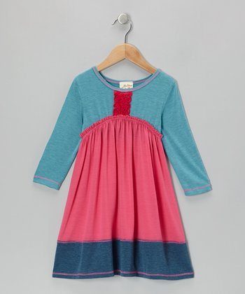 Fuchsia & Teal Rosette Empire-Waist Dress - Girls