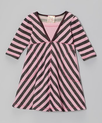 Pink & Black Stripe Surplice Dress - Toddler